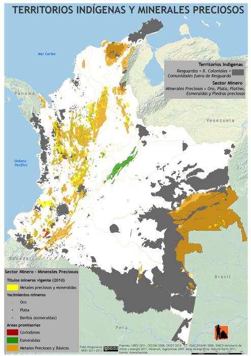 mapa de territorios indígenas y minerales preciosos en colombia