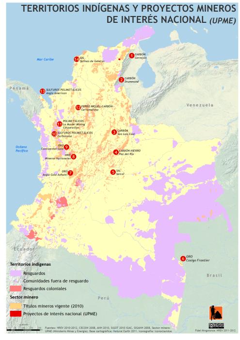 mapa de los territorios Indígenas y proyectos mineros de interés nacional en Colombia (UPME)