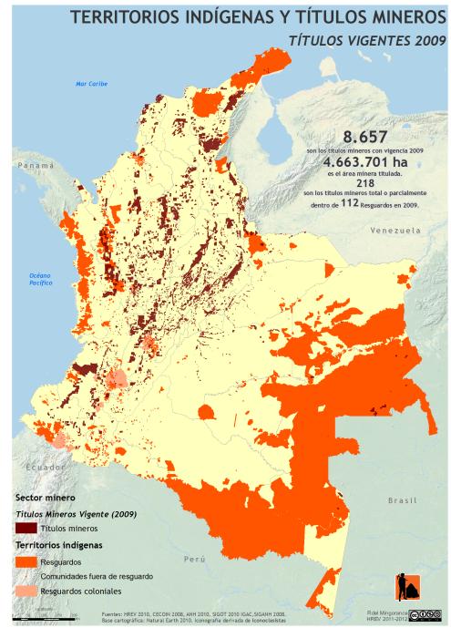 mapa de los territorios indígenas y Títulos mineros en Colombia en 2009