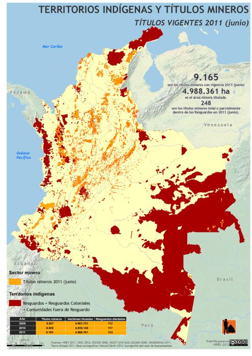 mapa de territorios indígenas y títulos mineros vigentes en Colombia 2011