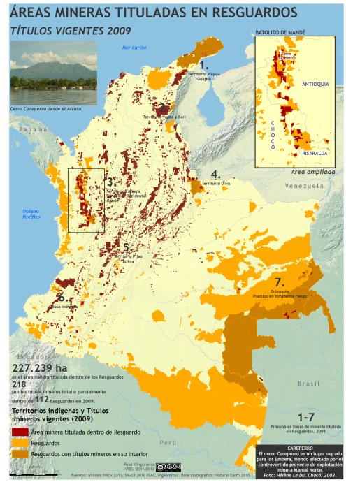 mapa de áreas mineras tituladas en Resguardos en Colombia en 2009