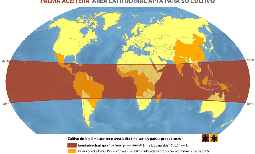 mapa del área latitudinal apta para el cultivo de palma aceitera