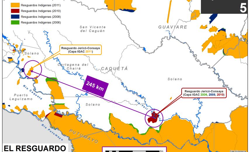 Resguardos indígenas que se mueven por el mapa, el resguardo más viajero en Colombia: 245 km