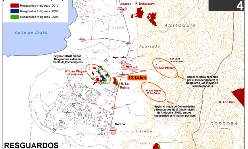 mapa de resguardos indígenas mal cartografiados: en medio de las bananeras