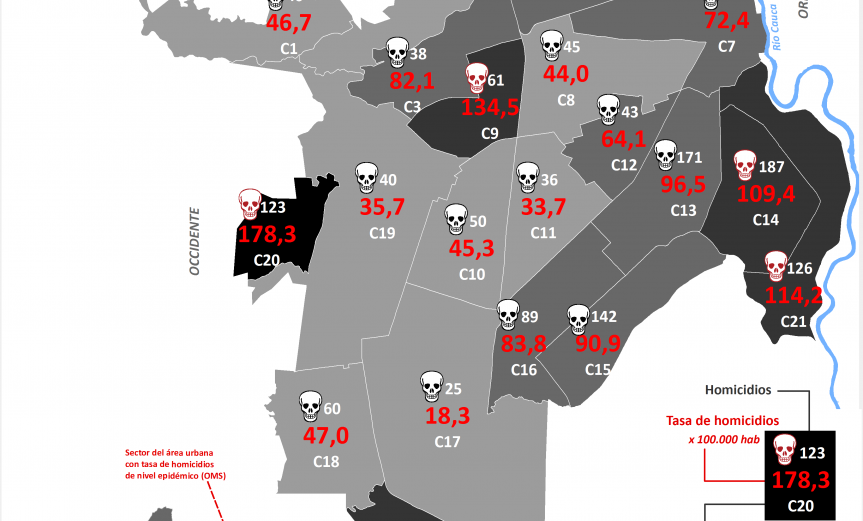 mapa de los homicidios y Tasa de homicidios en Cali por Comuna, 2014