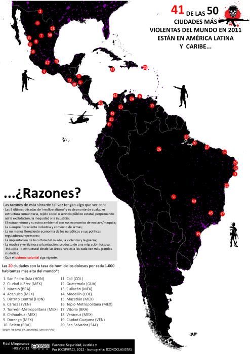 mapa de las ciudades con mayor tasa de homicidios en 2011