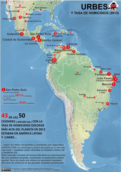 mapa de las ciudades con las tasas de homicidios más altas en 2013