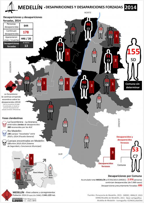 Mapa de las Desapariciones y desapariciones forzadas en Medellín en 2014