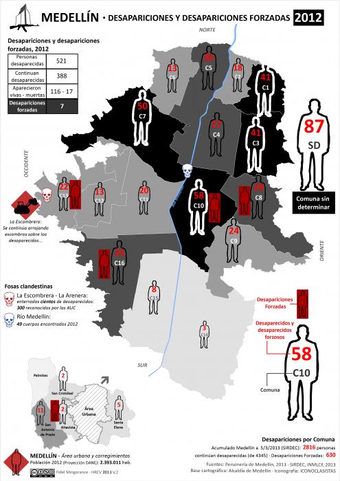 Mapa de las Desapariciones y desapariciones forzadas en Medellín en 2012