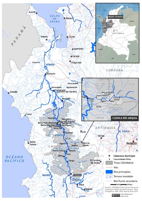"""mapa del Río Arquía y Medio Atrato para libro """"Soy Atrato"""""""