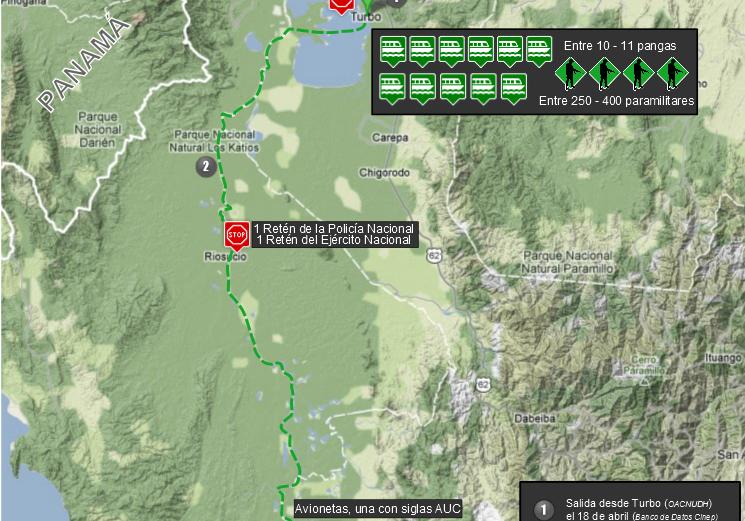 Mapa ruta patramilitar operación Tormenta del Atrato
