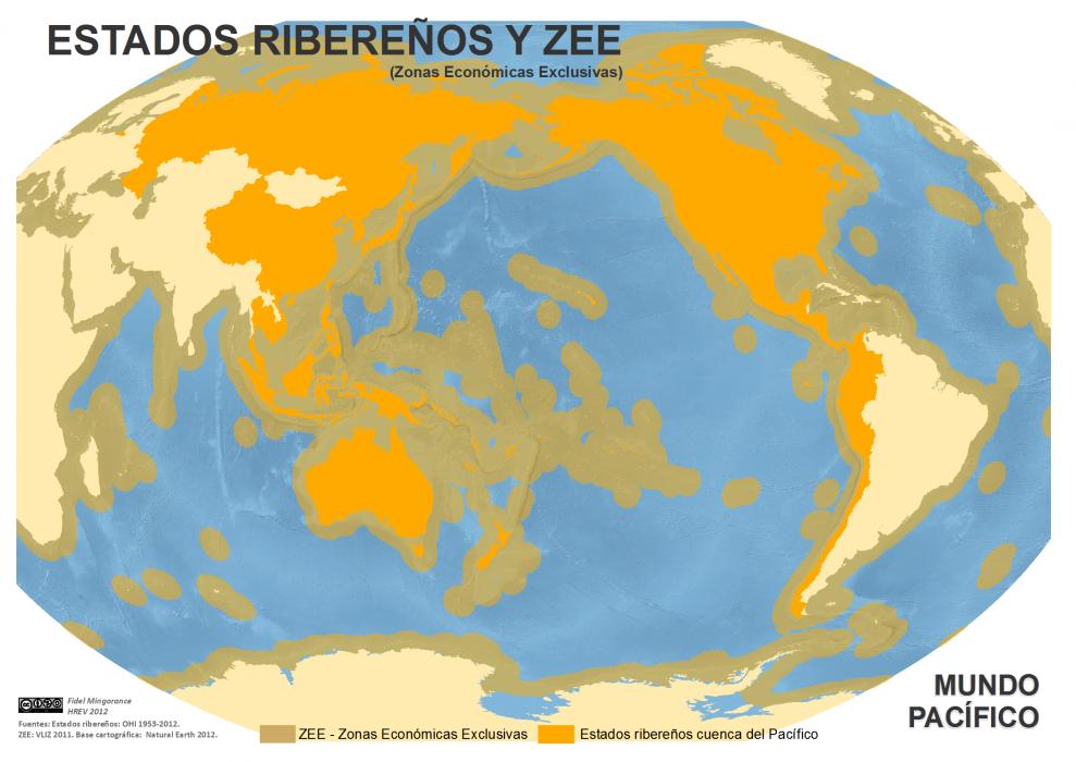 mapa de Estados ribereños y Zonas Económicas Exclusivas de la cuenca pacífica