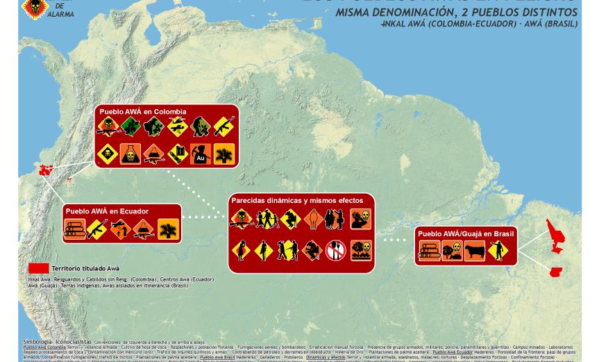 mapa de alarma: los pueblos Awás en peligro