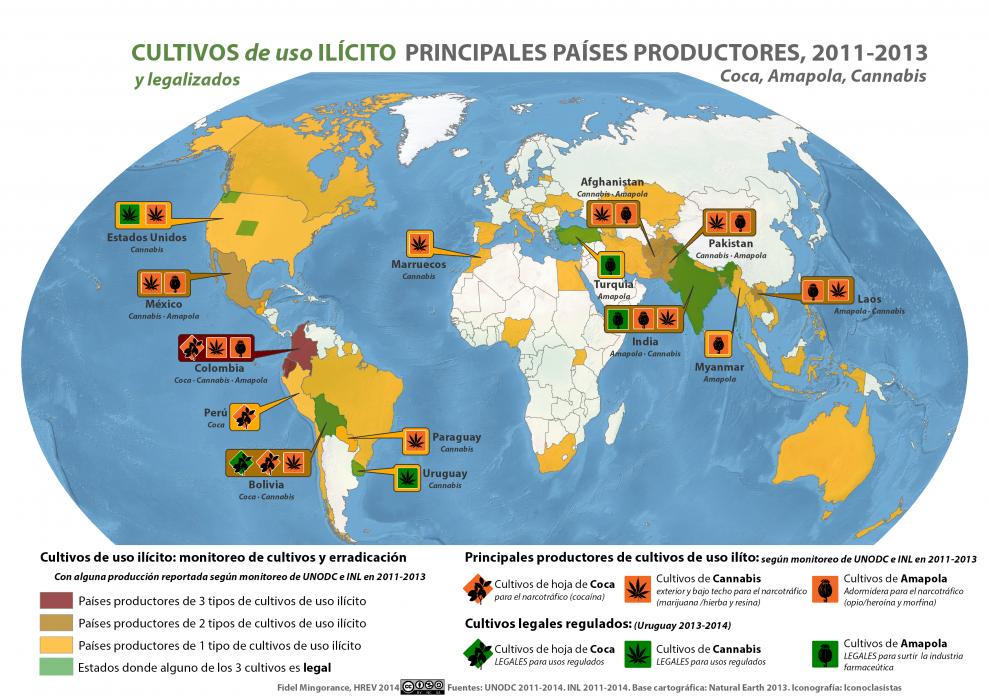 mapa de principales productores de cultivos de uso ilícito y legalizado en el mundo 2011-2013 según UNODC e INL