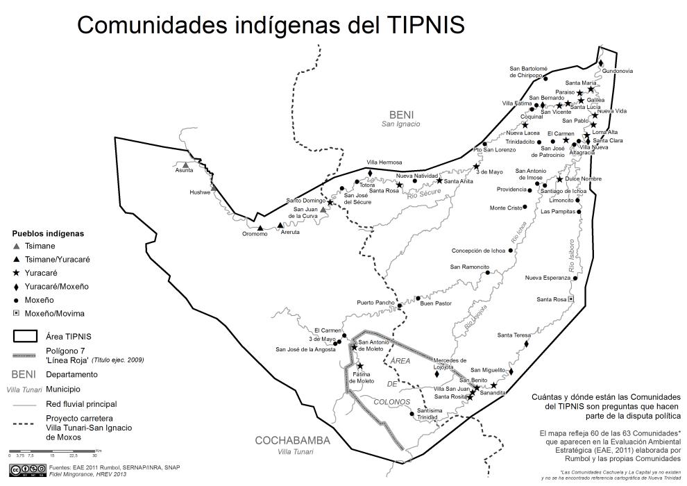 Mapa de las Comunidades Indígenas del TIPNIS