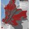 mapa de municipios con actividad paramilitar en Colombia en 2010