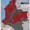 mapa de municipios con actividad paramilitar en Colombia en 2012