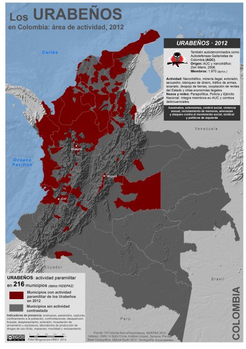 mapa de extensión municipal del grupo paramilitar Los Urabeños en Colombia 2012