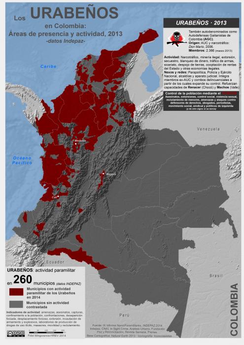 mapa de la actividad de los Urabeños en Colombia en 2013