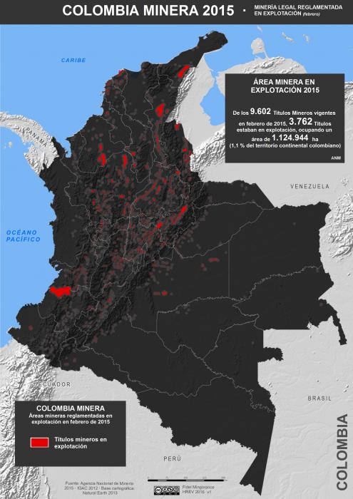 Mapa de la minería legal reglamentada en explotación en Colombia en febrero de 2015