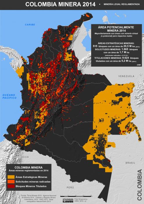 Mapa de la minería legal reglamentada en Colombia en 2014