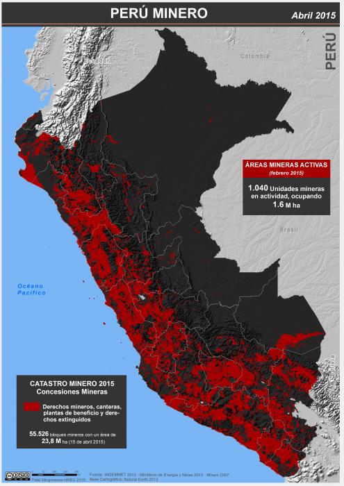 mapa del Perú minero en abril de 015