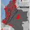 mapa de extensión municipal del grupo paramilitar Los Rastrojos en Colombia 2012