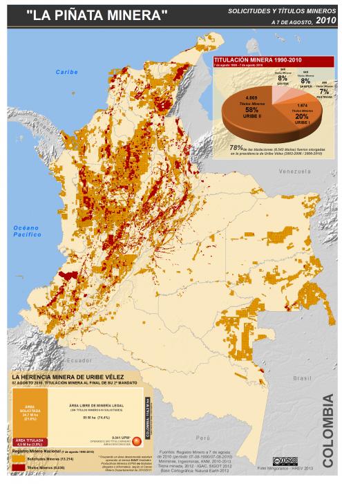 mapa de la piñata minera en Colombia. Títulos mineros agosto 2010