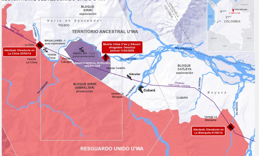 mapa petrolero en territorio U'wa, mayo de 2014