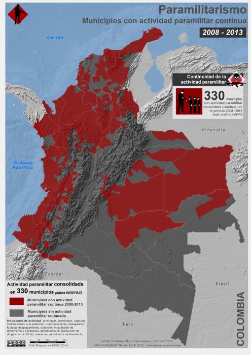 mapa de los Municipios con actividad paramilitar continua en Colomboia en ntre 2008 y 20013