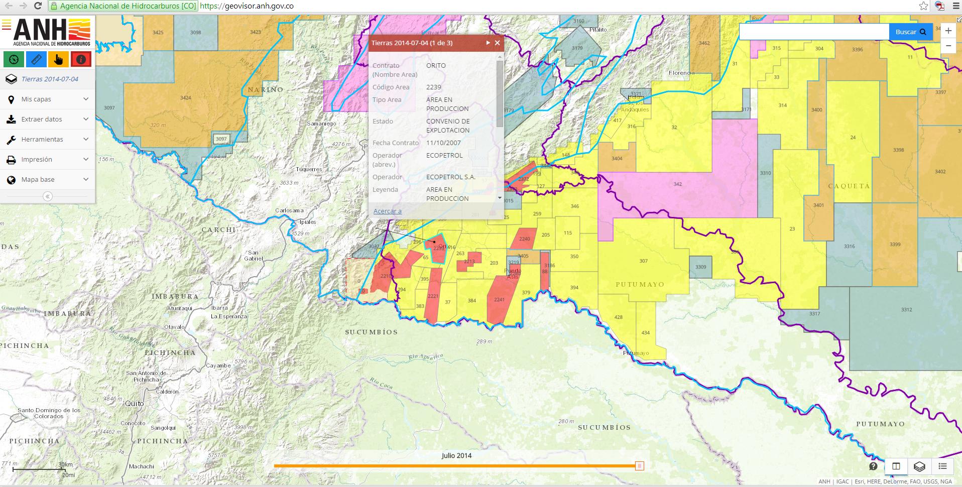 El mismo mapa en versión on line está perfecto para hacer consultas (Geovisor ANH)