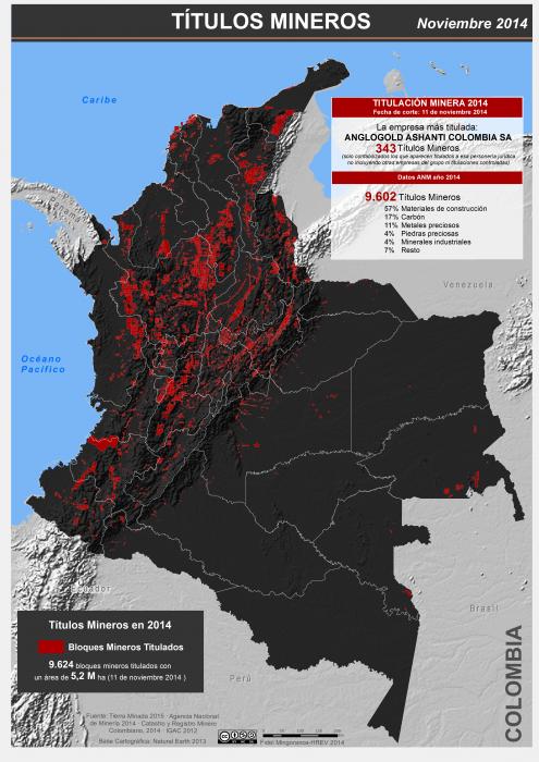 mapa de los títulos mineros en Colombia en noviembre de 2014