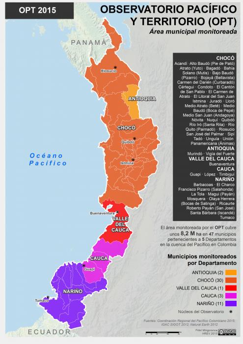 mapa municipal del área del Observatorio Pacífico y Territorio, 2015