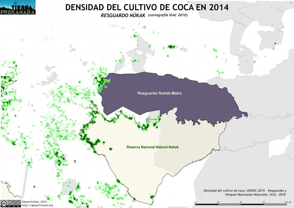 mapa de la densidad del cultivo de coca en el Resguardo Nukak en 2014 y la cartografía del IGAC de 2010