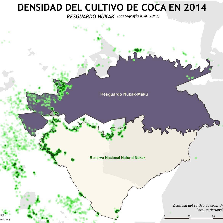 mapa de la densidad del cultivo de coca en el Resguardo Nukak en 2014 y la cartografía del IGAC de 2012