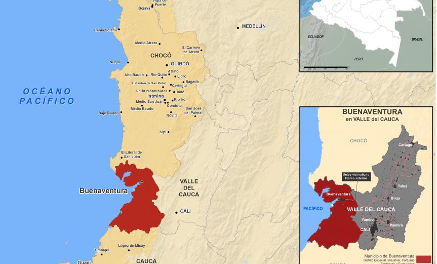 mapa de ubicación de Buenaventura en Colombia, en el Pacífico y área urbana