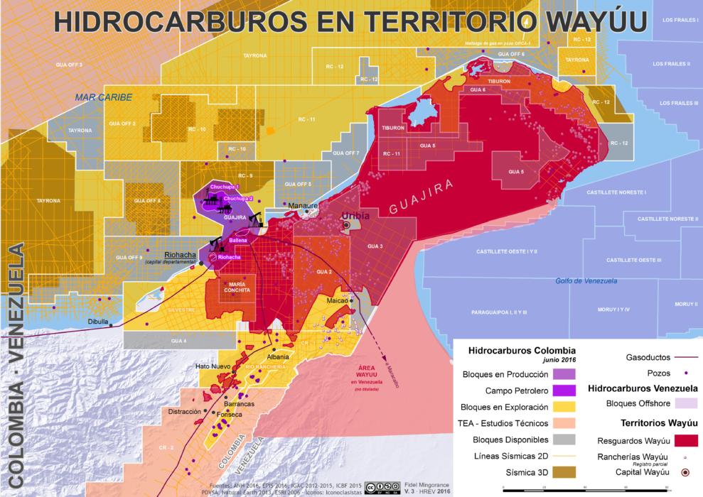 mapa de bloques petroleros en territorio Wayuu en junio de 2016