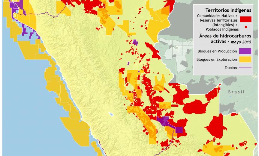 mapa de los Territorios indígenas en Perú y las áreas petroleras activas en mayo de 2015
