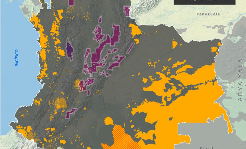 mapa de los yacimientos no convencionales de hidrocarburos en Colombia y territorios Indígenas en octubre de 2015