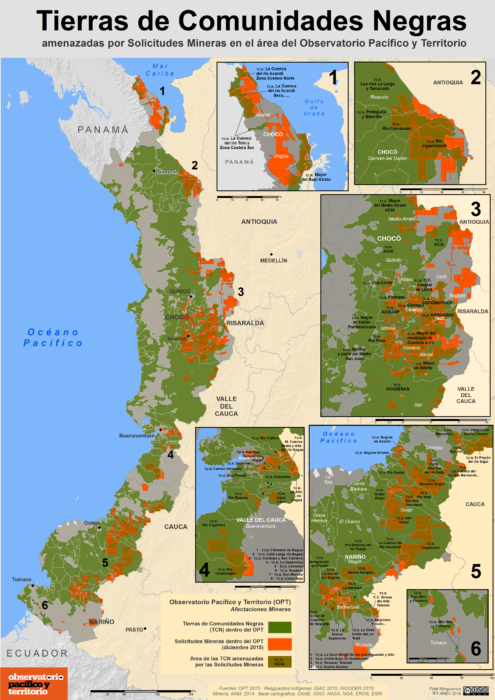 Mapa de las Tierras de Comunidades Negras amenazadas por Solicitudes Mineras en diciembre de2015 en el Pacífico colombiano