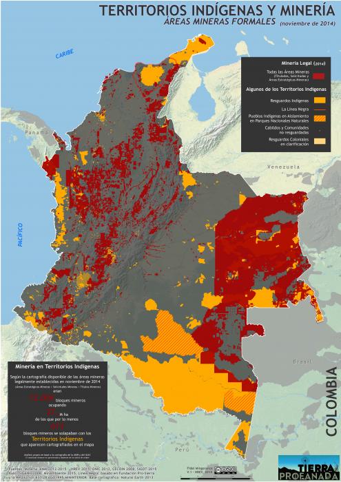 mapa del área minera legal en Colombia y los Territorios Indígenas en Colombia en 2014