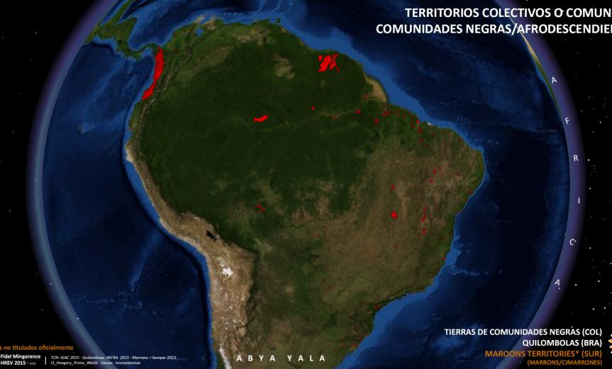 Globo de los territorios Afro/Negros en 2015 en Sudamérica