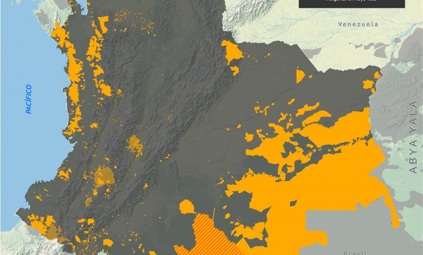mapa de los territorios indígenas en Colombia en noviembre de 2015