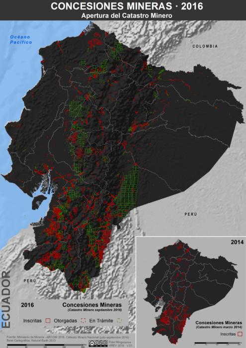 Mapa de las Concesiones Mineras en Ecuador, Catastro Minero de septiembre de 20016