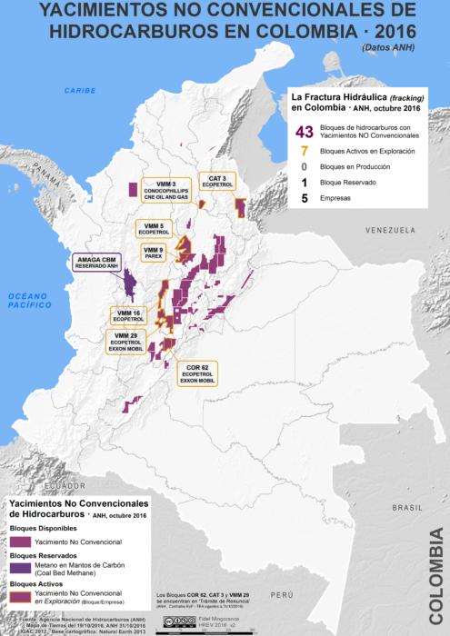Mapa de los Yacimientos No Convencionales en Colombia en octubre de 2016