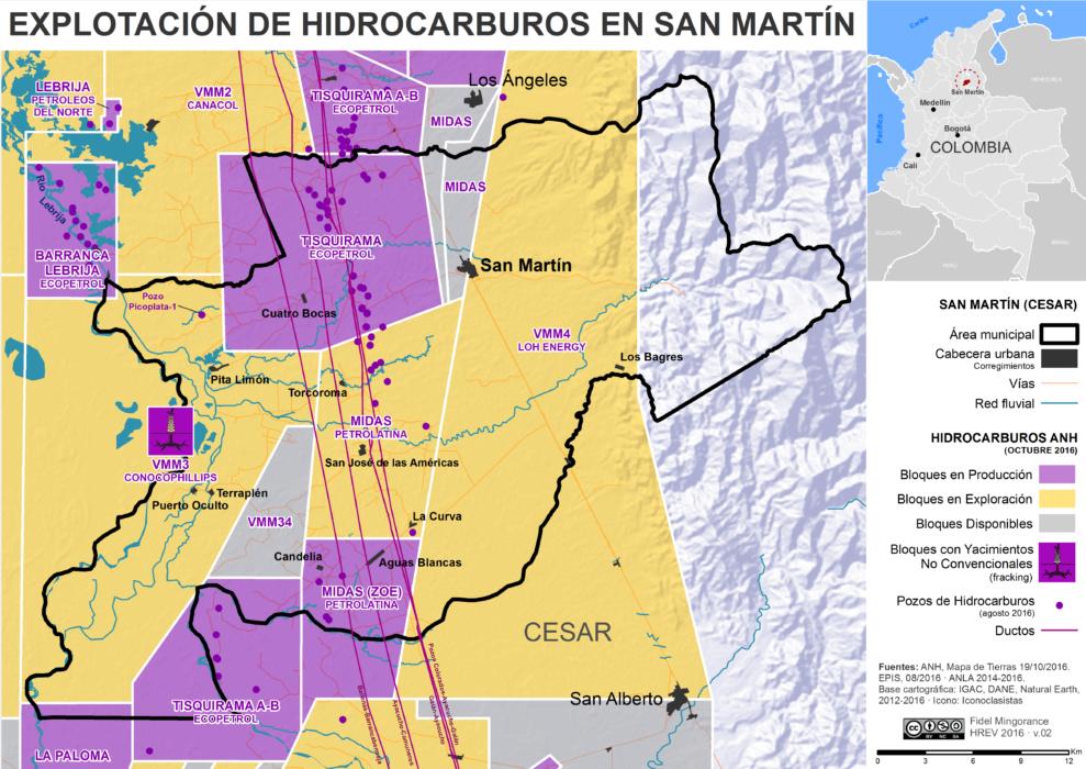 mapa de la extracción de hidrocarburos en el municipio de San Martín (Cesar) en octubre de 2016