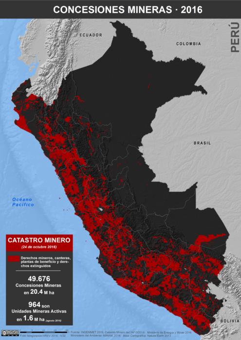 Mapa de las Concesiones Mineras en Perú, Catastro Minero de octubre de 20016
