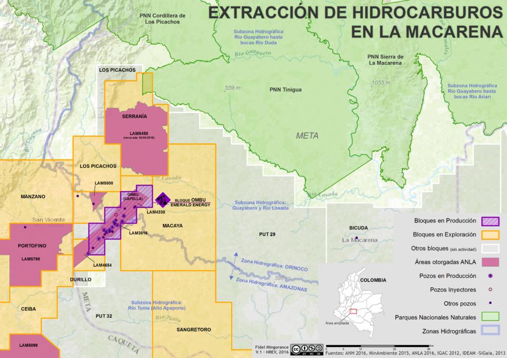 mapa de hidrocarburos y licencias ambientales en La macarena