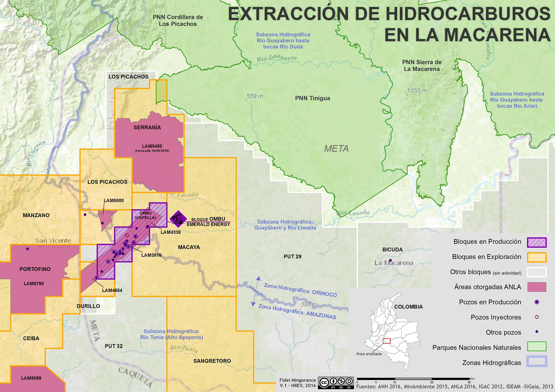 Extracción de hidrocarburos en La Macarena