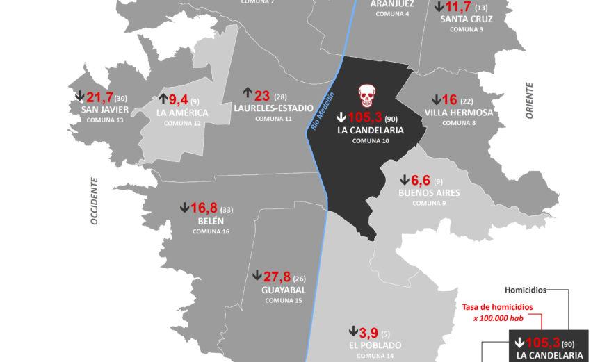 mapa de la tasa de homicidios y homicidios en Medellín en 205